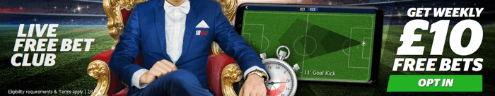 10Bet Live Free Bet Club Banner