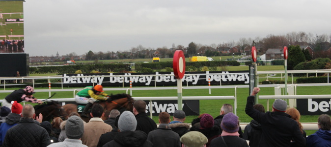 aintree horse about to win a race