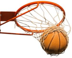 ball going through a basketball net