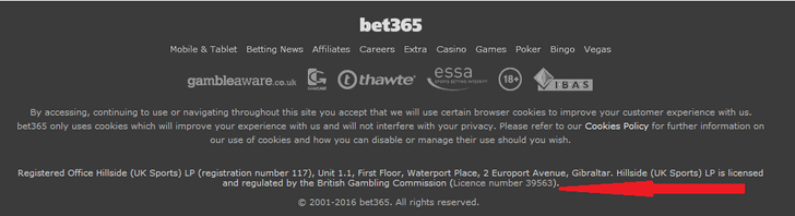 bet365 licence
