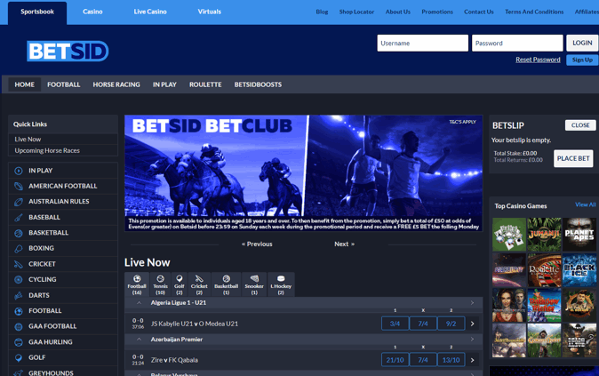 betsid home page screenshot