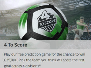 betway 4 to score free prediction game
