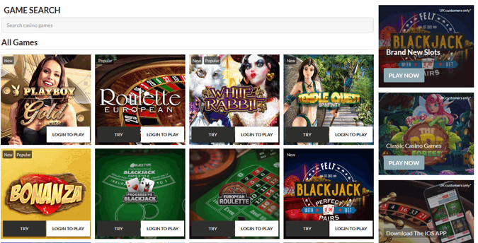 black type bet casino home page screenshot