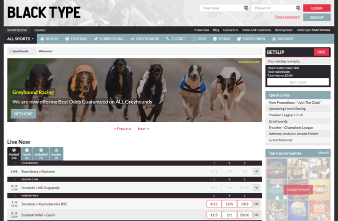 black type bet home page screenshot
