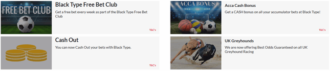black type bet sports promotions page screenshot