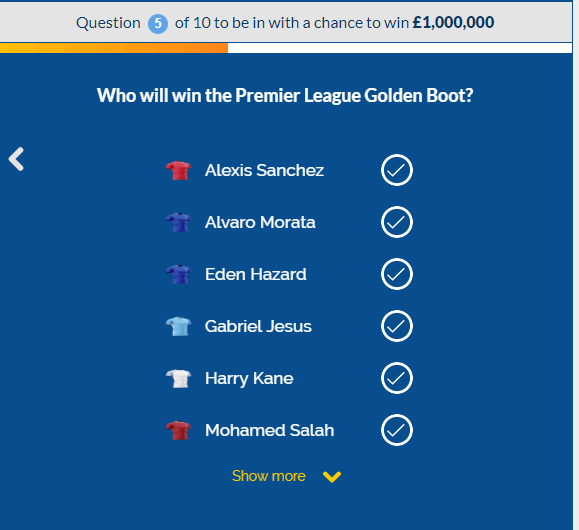 coral million premier league question