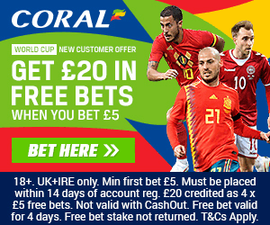 coral world cup 2018 new customer offer for UK customers