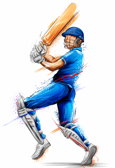 cricket batsman in coloured kit