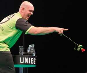 darts premier league michael van gerwen with a rose