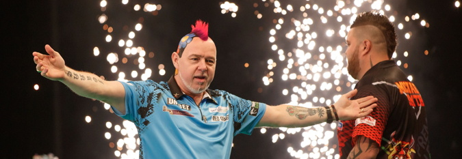 darts player celebrates victory in the premier league