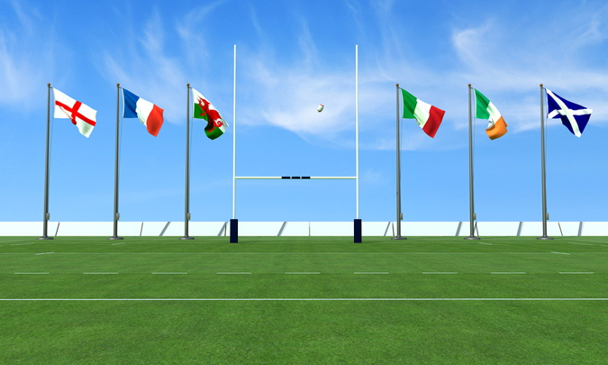 flags of the 6 nations next to rugby goal
