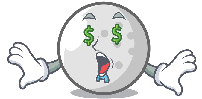 golf ball with dollar signs for eyes drooling
