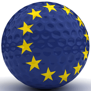 golf ball with european flag