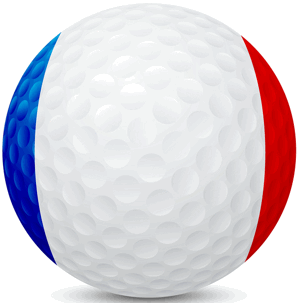 golf ball with french flag painted on