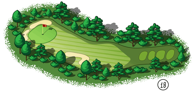 golf course 18th hole drawing