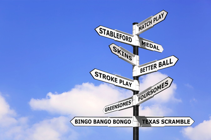 golf signpost with various play formats