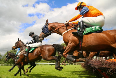 horses jumping over fences