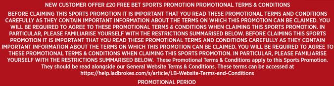 ladbrokes bet 5 get 20 new customer offer terms