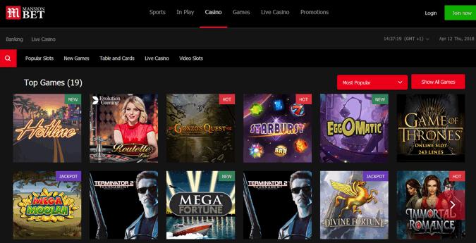 mansionbet casino screenshot