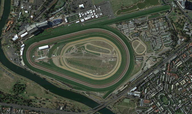 melbourne cup flemington racecourse from above
