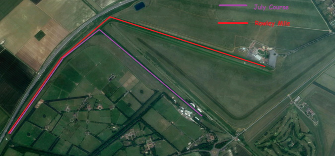 newmarket racecourse from above with july and rowley courses marked