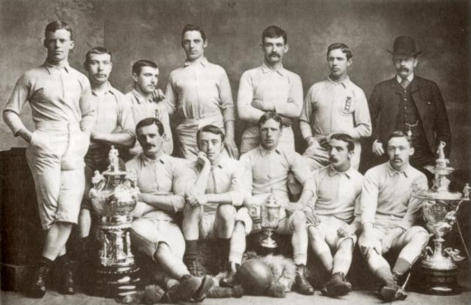 old football squad photograph from 1880's