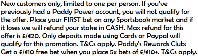 paddy power main welcome offer terms text