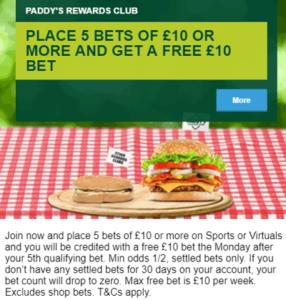 Paddy Reward Club - Weekly Free Bet Club