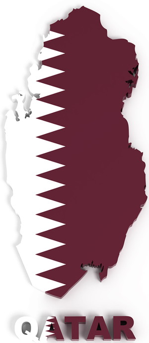 qatar world cup 2022 country outline with flag imposed