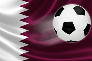 qatar world cup 2022 flag with ball on