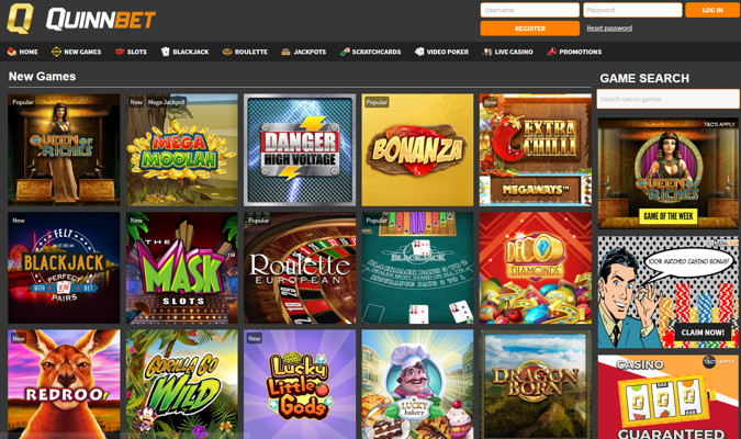 quinnbet casino screenshot