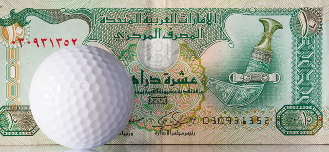 race to dubai golf ball with money