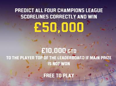 unibet champions league score predictor free game