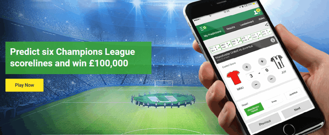 Unibet Champions League Free Score Prediction Game, Win up to £100k