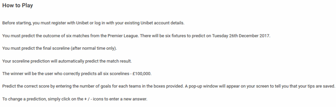 Unibet Premier League Free Score Prediction Game, Win £100,000 - how to play