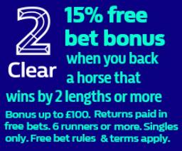 2 Clear 15% Win Bonus - Flat Racing