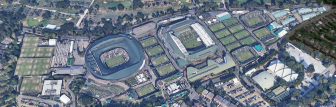 wimbledon courts viewed from above