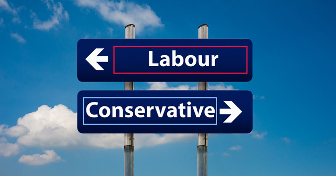 Labour and Conservative Sign Post