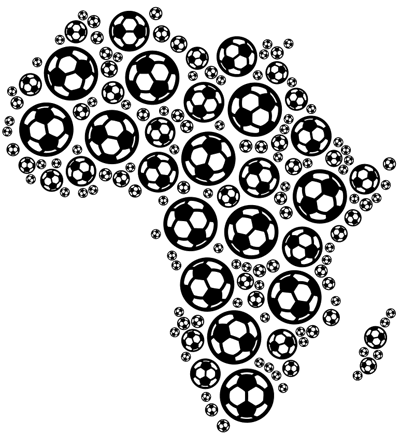africa map made with footballs