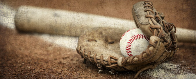 baseball mitt glove and bat