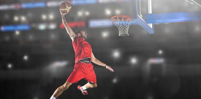 basketball player shooting a hoop