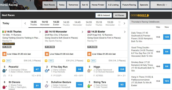 Betfair Horse Racing markets