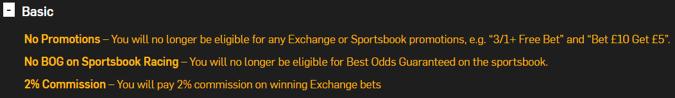 betfair rewards basic package