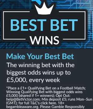betvictor best bet wins square