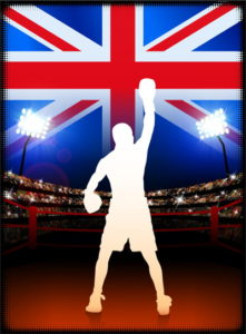 boxer celebrating in front of union jack