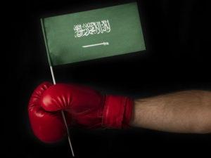 boxing glove holding saudi arbia flag