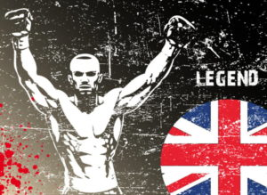 boxing legend poster with union jack flag