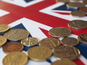 britain flag and british money