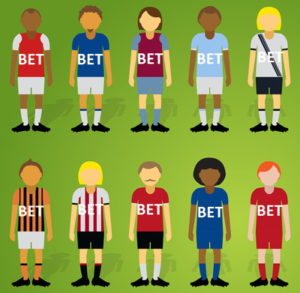 cartoon of football shirts with bet written on them
