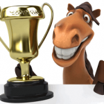 horse with gold trophy